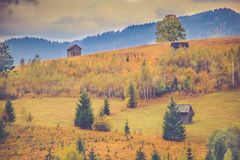 Autumn scenery landscape with colorful forest, wood fences and hay barns in Bucovina, Romania. Autumn scenery landscape, colorful forest, wood fences and hay Stock Photo