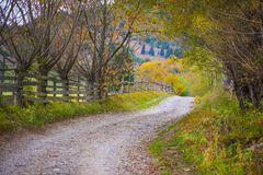 Autumn scenery landscape with rural road, colorful forest, wood fences and hay barns in Bucovina. Autumn scenery landscape with rural road, colorful forest, wood Royalty Free Stock Photography
