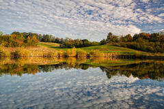 Autumn scenery  on the pond Stock Images