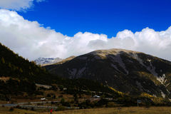 The autumn scenery on the road to Qinghai Tibet Plateau Royalty Free Stock Images