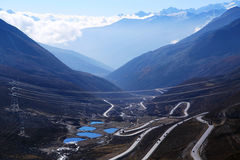 The autumn scenery on the road to Qinghai Tibet Plateau Stock Image