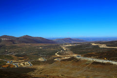 The autumn scenery on the road to Qinghai Tibet Plateau Stock Photos