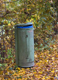 Autumn scenery with rubbish bin Stock Images