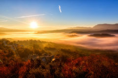 Autumn scenery up early with fog in Zagorochoria, Epirus Greece Stock Images