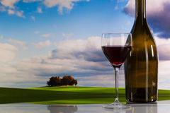 Autumn scenery and wine glasses Royalty Free Stock Photo