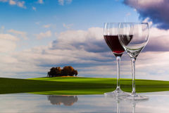 Autumn scenery and wine glasses Royalty Free Stock Image