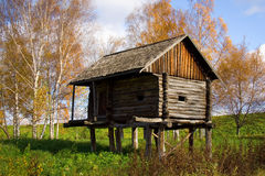 Autumn scenery - wooden houses Stock Image