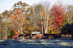 Autumn Scenic of Shed and Colorful Foliage Stock Photo