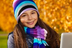 Autumn schoolgirl portrait Stock Photo