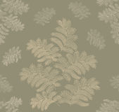 Autumn seamless background. Leaves seamless pattern on olive background Stock Photo