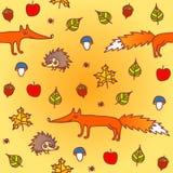 Autumn seamless background with animals. Autumn seamless background with funny animals Vector Illustration