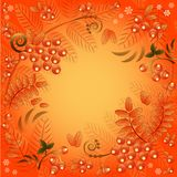 Autumn seamless background with ornament from leaves and berries of mountain ash Stock Photo