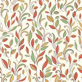 Autumn seamless background with a pattern of leaves. Stock Images