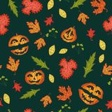 Autumn seamless background, vector illustration. Stock Images