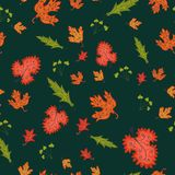 Autumn seamless background, vector illustration. Royalty Free Stock Images