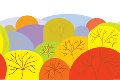 Autumn seamless banner with trees Stock Images