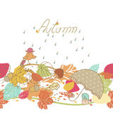 Autumn seamless border. Seamless border with little Bird, leaves and rain Stock Photography