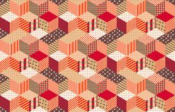 Autumn seamless patchwork pattern with stars. Vector background. Quilting in warm colors Stock Photography