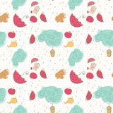Autumn, seamless pattern. With clouds, umbrellas and singing bird Stock Images