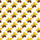 Autumn seamless pattern with acorns. Vector background. Stock Photos