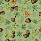 Autumn Seamless pattern. Autumn Seamless pattern with acron, leaf and other. Vector illustration Stock Photo