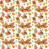 Autumn Seamless Pattern Background Colorful-de Dalingsseizoen van het Bladerenornament Stock Afbeelding