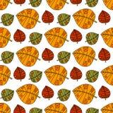 Autumn Seamless Pattern Background Colorful-de Dalingsseizoen van het Bladerenornament Stock Foto's