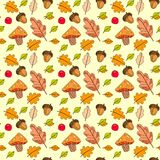 Autumn Seamless Pattern Background Colorful deixa o outono do ornamento Fotografia de Stock Royalty Free