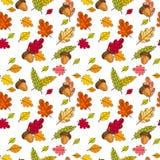 Autumn Seamless Pattern Background Colorful deixa o outono do ornamento Fotos de Stock Royalty Free