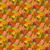 Autumn Seamless Pattern Background Colorful laisse l'automne d'ornement Image libre de droits