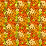 Autumn Seamless Pattern Background Colorful laisse l'automne d'ornement Photos libres de droits