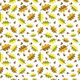 Autumn Seamless Pattern Background Yellow deja temporada de otoño del ornamento Fotografía de archivo