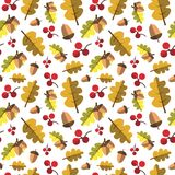 Autumn Seamless Pattern Background Yellow deja temporada de otoño del ornamento Fotos de archivo libres de regalías