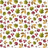Autumn Seamless Pattern Background Yellow deja temporada de otoño del ornamento Imagen de archivo