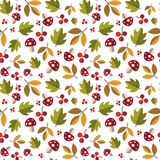 Autumn Seamless Pattern Background Yellow laisse l'automne d'ornement Image stock