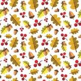 Autumn Seamless Pattern Background Yellow lascia la stagione di caduta dell'ornamento Fotografie Stock Libere da Diritti