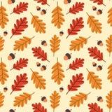 Autumn Seamless Pattern Background Yellow Oak Leaves Ornament Fall Season. Flat Vector Illustration Stock Image