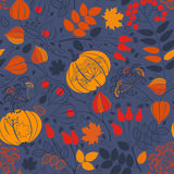 Autumn seamless pattern on blue background. Bright  backgr Royalty Free Stock Image