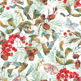 Autumn seamless pattern with branches of rowan Royalty Free Stock Images