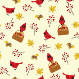 Autumn seamless pattern with cardinal bird Stock Photos