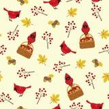 Autumn seamless pattern with cardinal bird Stock Photos