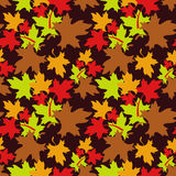 Autumn seamless pattern. With colorful maple leaves. Raster clip art Royalty Free Stock Photos