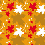 Autumn seamless pattern. With colorful maple leaves. Raster clip art Stock Images