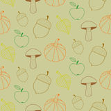 Hand Drawn Autumn Seamless Pattern Stock Images