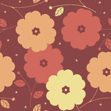 Autumn seamless pattern with decorative flowers Stock Photo