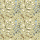 Autumn seamless pattern with decorative leaves and flowers Stock Photography