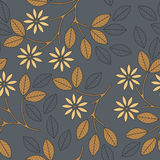 Autumn seamless pattern with decorative leaves, flowers and line royalty free illustration