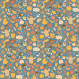 Autumn seamless pattern. Doodle style Stock Photography