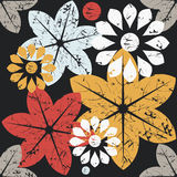 Autumn seamless pattern with elegant flowers and black Royalty Free Stock Photography