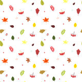 Autumn seamless pattern with fall bright leaves: oak, maple, bir Royalty Free Stock Photography